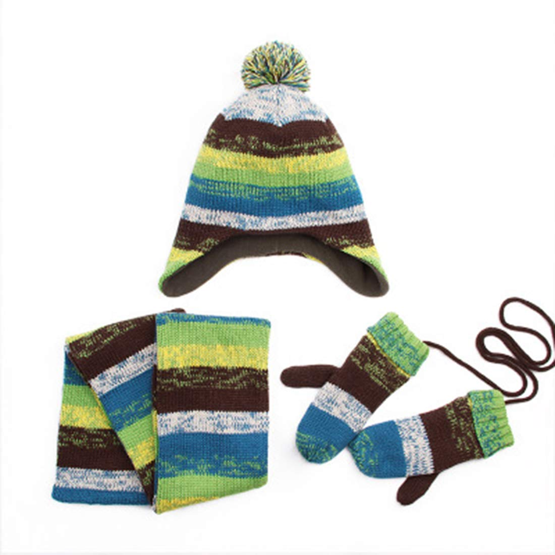 Boys Girls Fleece-lined Winter Bolor Block Warm Hat Scarf and Gloves Set 3 Pics