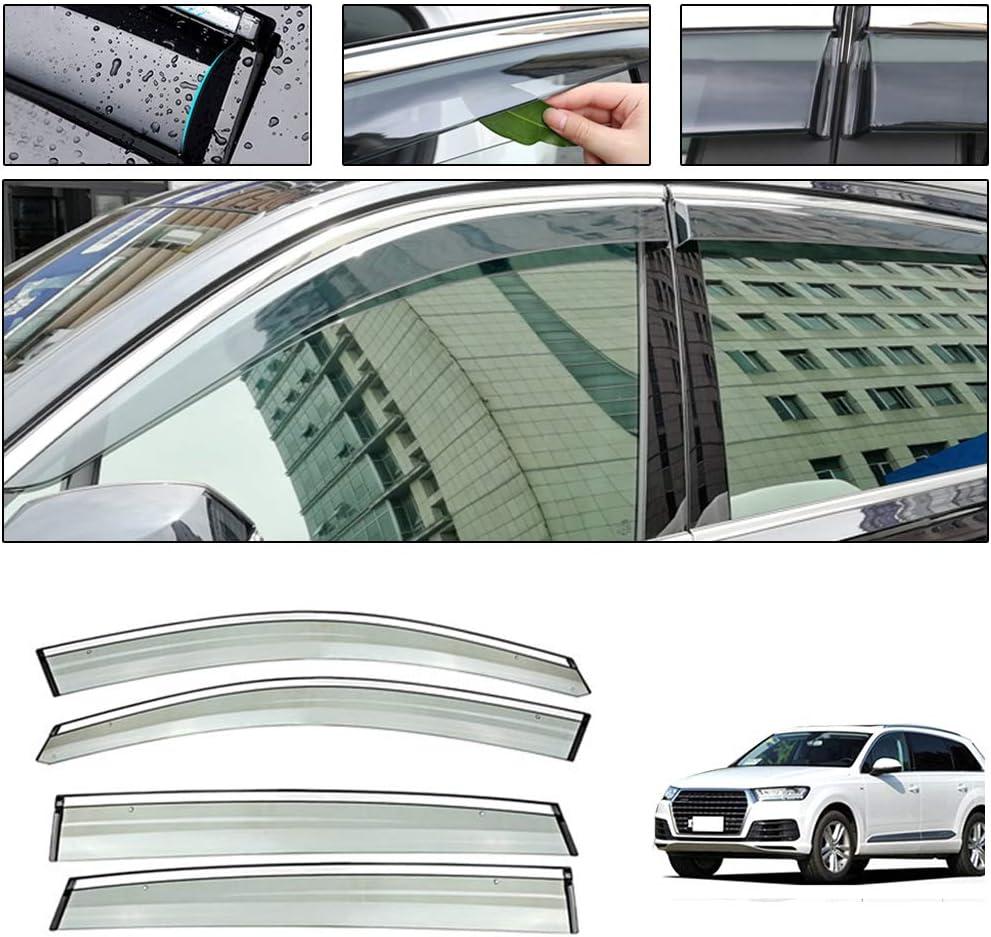 Side Window Deflectors for Audi Q7 2016-2019 Car Window Visor Sun Rain Smoke Vent Shade Tape-On Outside Visors