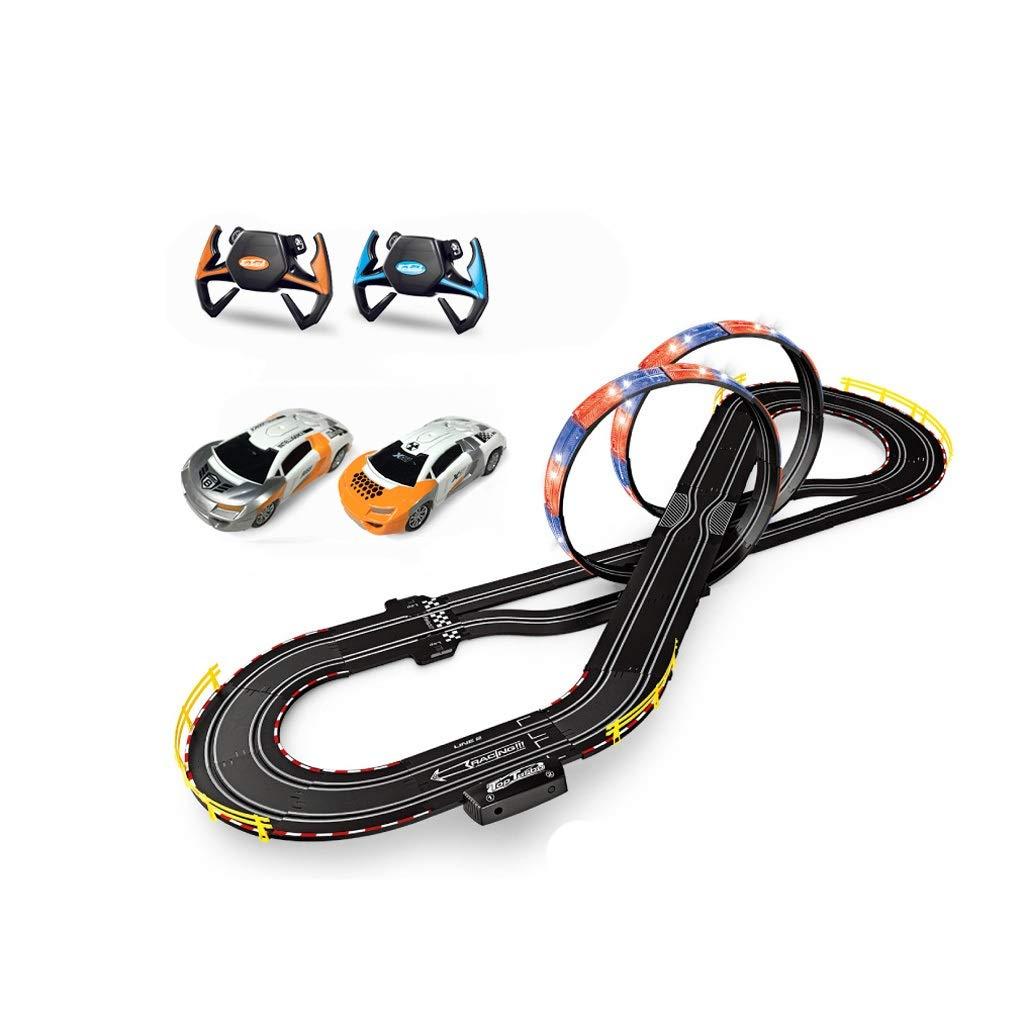 LIUFS-レール 男の子電気トラックレーシング玩具リモートコントロールカー大戦い組み立て8歳子供のおもちゃ (色 : Steering wheel remote control, サイズ さいず : 5.4m) B07NV1RSND Hand crank remote control 5.4m 5.4m|Hand crank remote control