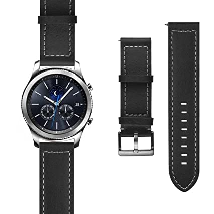 J&D Watch Band Compatible for Gear S3 Classic Watch Band, Gear S3 Frontier Watch Band, [Classic Series] Genuine Leather Replacement Watch Band for ...