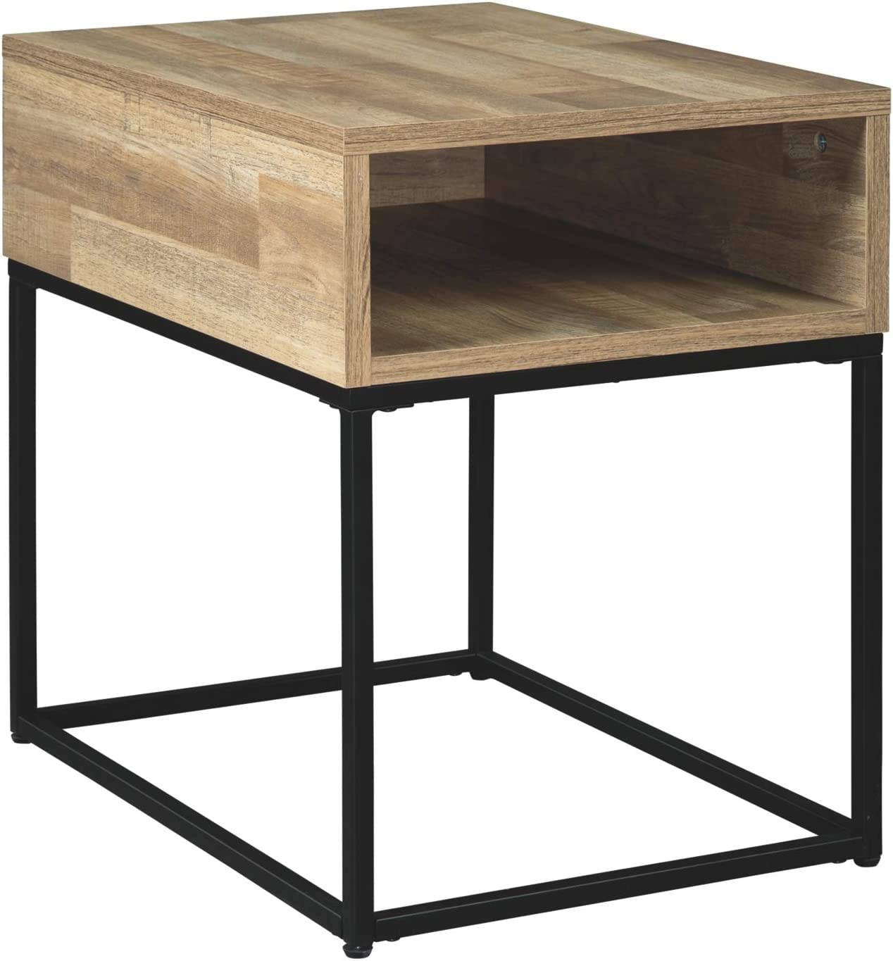 Signature Design by Ashley - Gerdanet Rectangular End Table w/ Storage, Natural Brown Wood