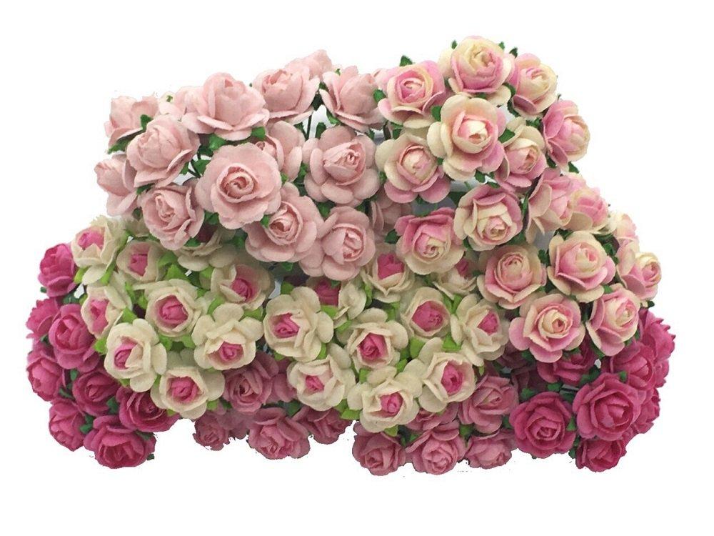 50 pcs Mini Pink Satin Ribbon Craft Bows Trim Doll Card Scrapbook Wedding Gift