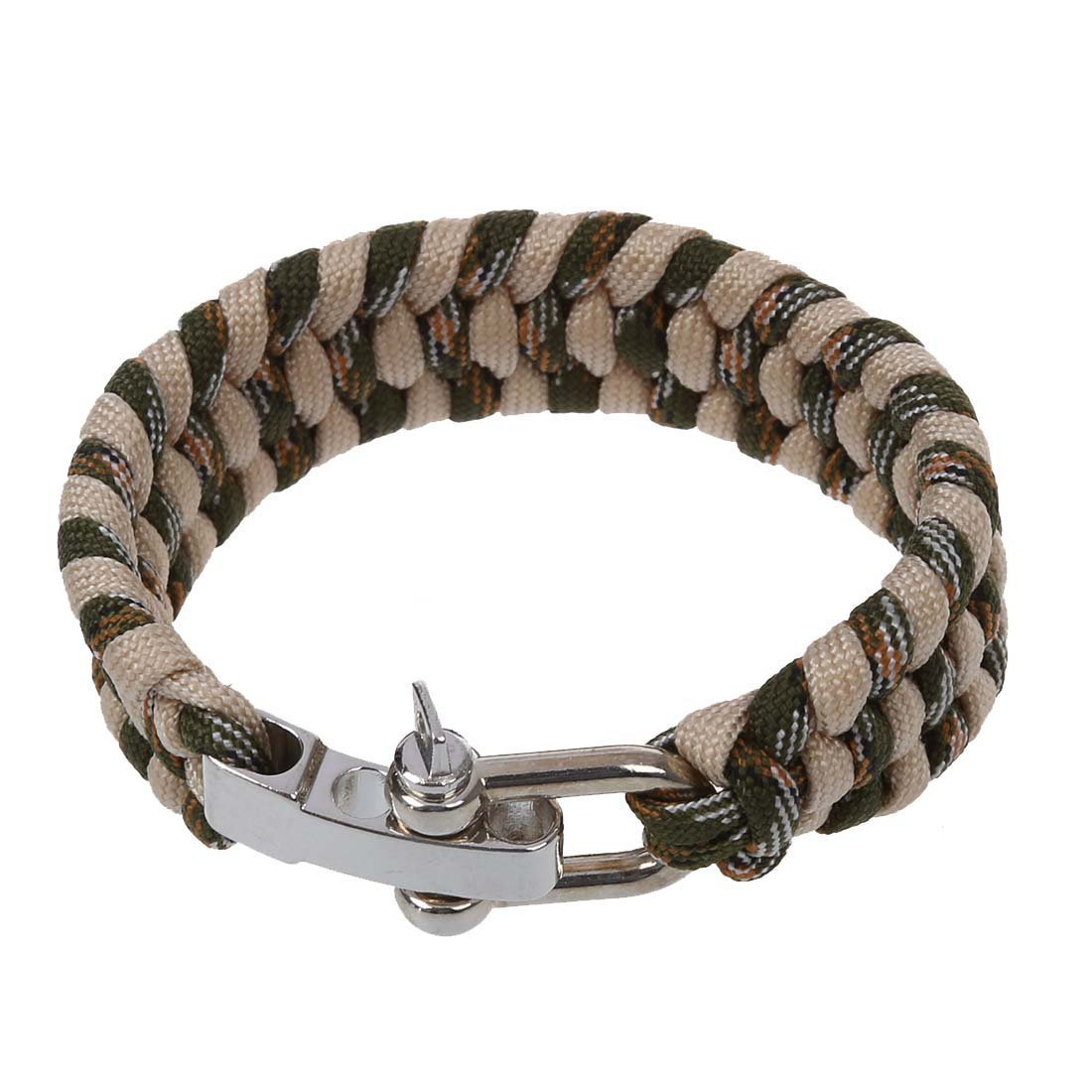 SODIAL(R)7 Strand survie Weave militaire Bracelet cordon Buckle - Kaki