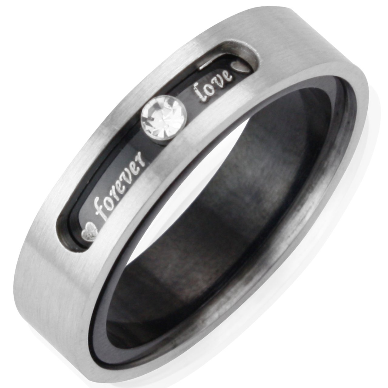 Dual Layer Stainless Steel ''Forever Love'' Twistable 5.1mm Band Ring - Men (Size 10)