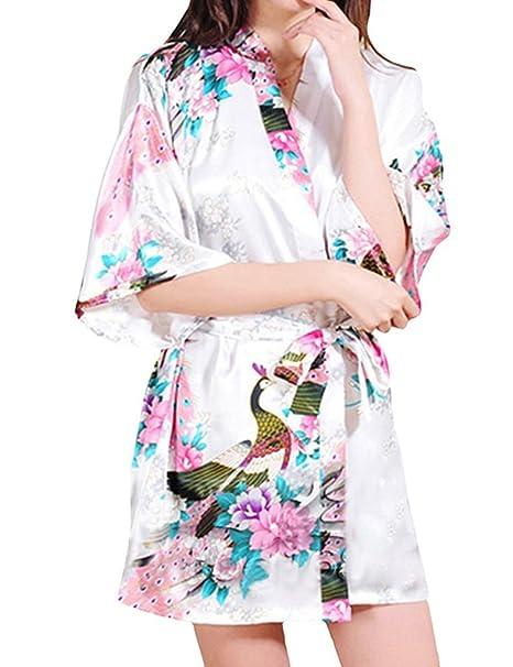 Surenow Mujer Vestido Kimono Pavo & Flores Albornoces Pijamas Satén