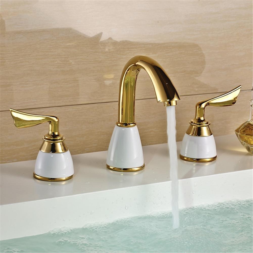 chic gaof luxury 3 piece set faucet bathroom mixer deck mounted sink tap basin faucet set golden. Black Bedroom Furniture Sets. Home Design Ideas