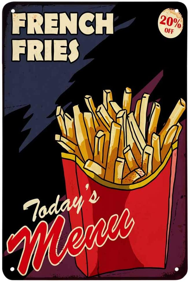 AOYEGO French Fries Tin Sign,Box Fast Food Fresh Restaurant Doodle Lunch Potato Crisp Vintage Metal Tin Signs for Cafes Bars Pubs Shop Wall Decorative Funny Retro Signs for Men Women 8x12 Inch