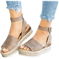 7abb997fe08b04 Athlefit Women s Platform Sandals Espadrille Wedge Ankle Strap Studded Open  Toe Sandals