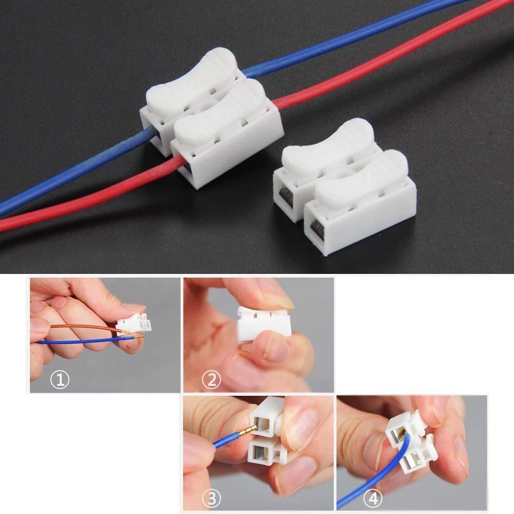100/pcs 2P CH2/connecteur rapide Printemps Fil c/âble connecteur Clamp terminal pour LED strip light Fil de brancher