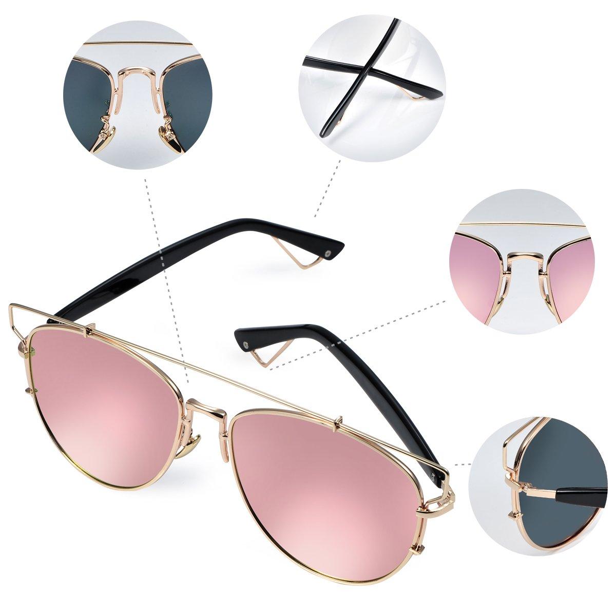 Duduma polarizadas Aviator Gafas de sol con marco metal travesaño completo de moda para mujeres y hombres 8027 Plateado Gold frame with pink mirror lens: ...