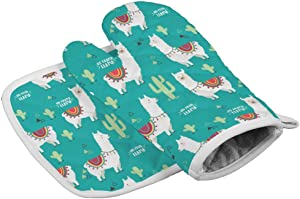 No Prob-Llama Oven Mitts,Professional Heat Resistant Microwave BBQ Oven Insulation Thickening Cotton Gloves Baking Pot Mitts with Soft Inner Lining
