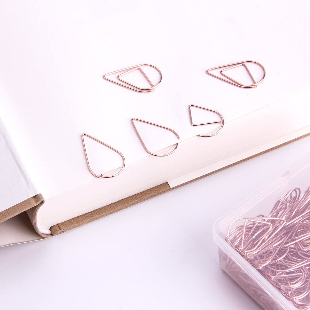 Smooth Steel Wire Paperclips for Office Supplier School Student by ROOFULL 1.11 inch // 28mm 120 Pcs Rose Gold Paper Clips