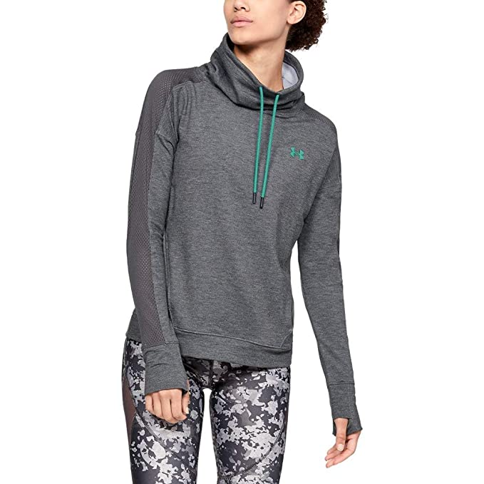 Under Armour Women's Featherweight Fleece Funnel Neck, Charcoal Medium Heat (020)/Green Malachite, Medium best women's sweatshirts