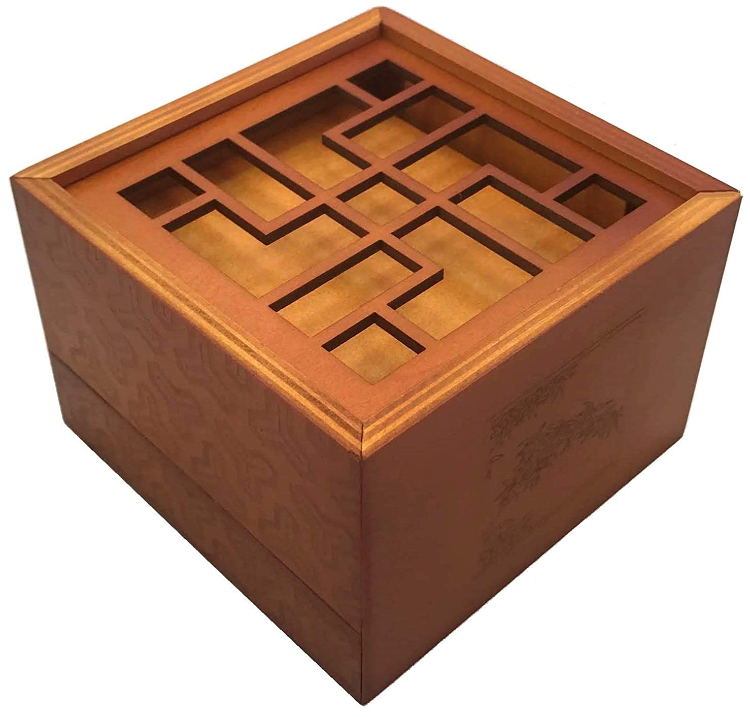 Treasure Secret Puzzle Box Money And Gift Card Holder In A Wood Magic Trick Lock With Two Hidden Compartments Brainteaser Toy