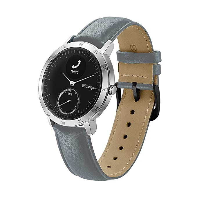 Balerion Smart Watch Band for Wthings Steel HR 40MM, Genuine Leather Strap Replacement Watch Band Bracelet for Wthings Steel HR 40MM-Grey 40MM
