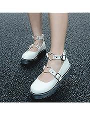 XWHKX Lolita schoenen student meisje hart gesp schellak lage hak