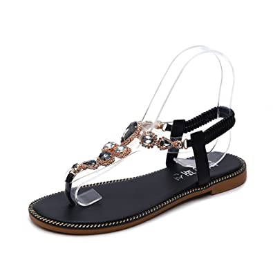 1bdbe65852a39c Womens Thong Sandals Fashion Bohemia Shoes Wedge Summer Rhinestone Clip Toe  Flats Black