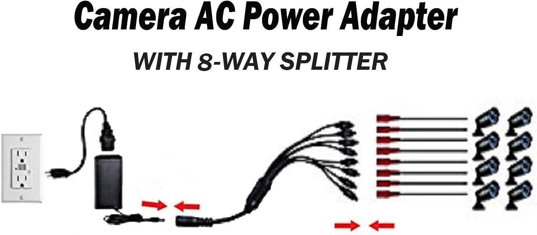 UpBright 12V 5A AC Adapter Power Supply 8 Split Compatible with CCTV Security IP IR Camera DVR Swann DVR8-4575 Lorex FLIR LKB343 LHV2000 LAB223 CS-1205000 QCN8009D QM9702B LHV1000 LHV1004 1 to 8 8-in-1 Splitter