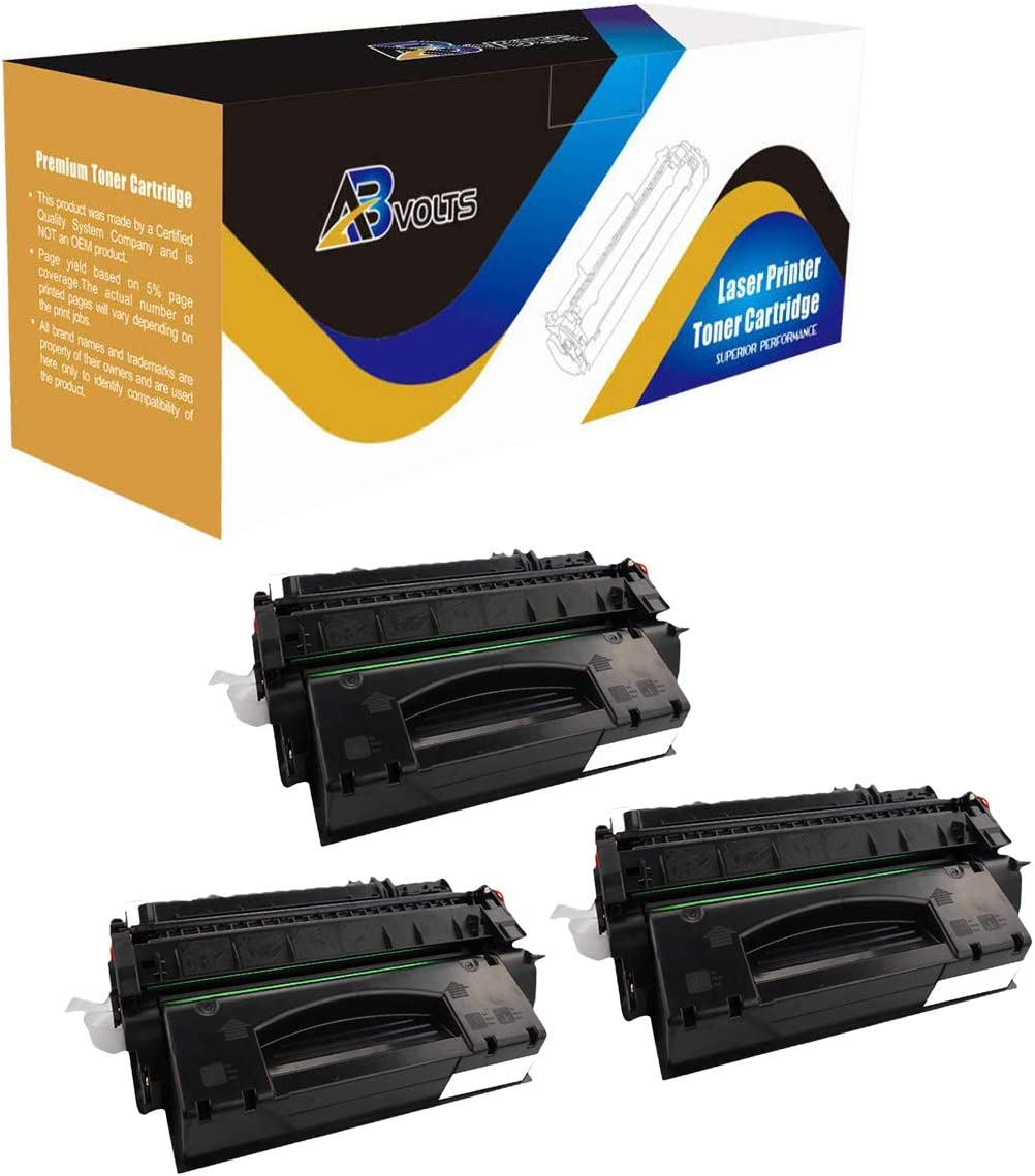 Black,3-Pack AB Volts Compatible MICR Toner Cartridge Replacement for HP Q7553X for Laserjet P2014/ P2015/ P2015D/ P2015DN/ P2015N/ P2015X M2727NF MFP
