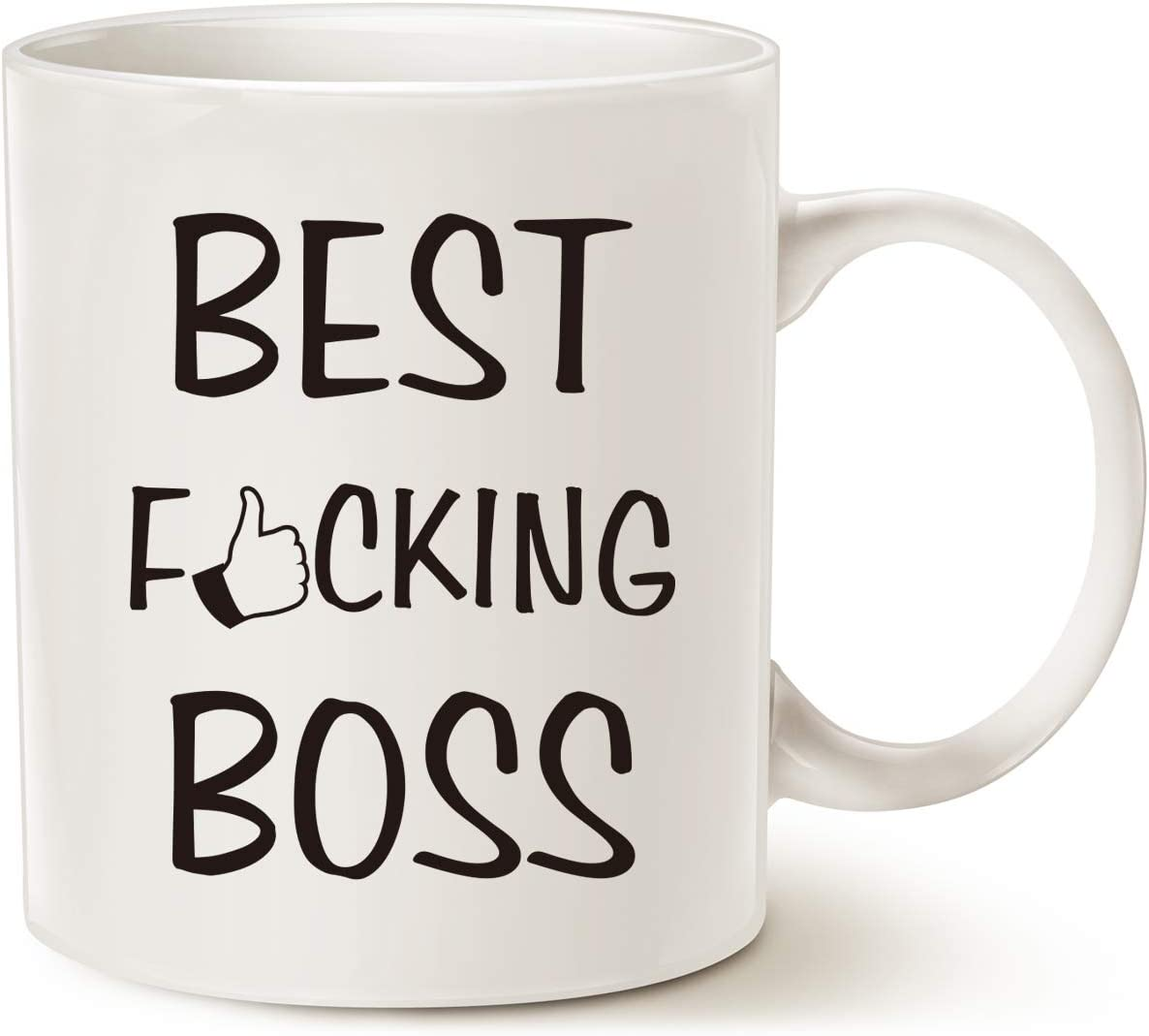 MAUAG Christmas Gifts Best Boss Ever Funny Coffee Mug for Bosses Day White 11 Oz, Work and Office Holiday or Birthday Present for Worlds Best Male or Female Boss, Manager