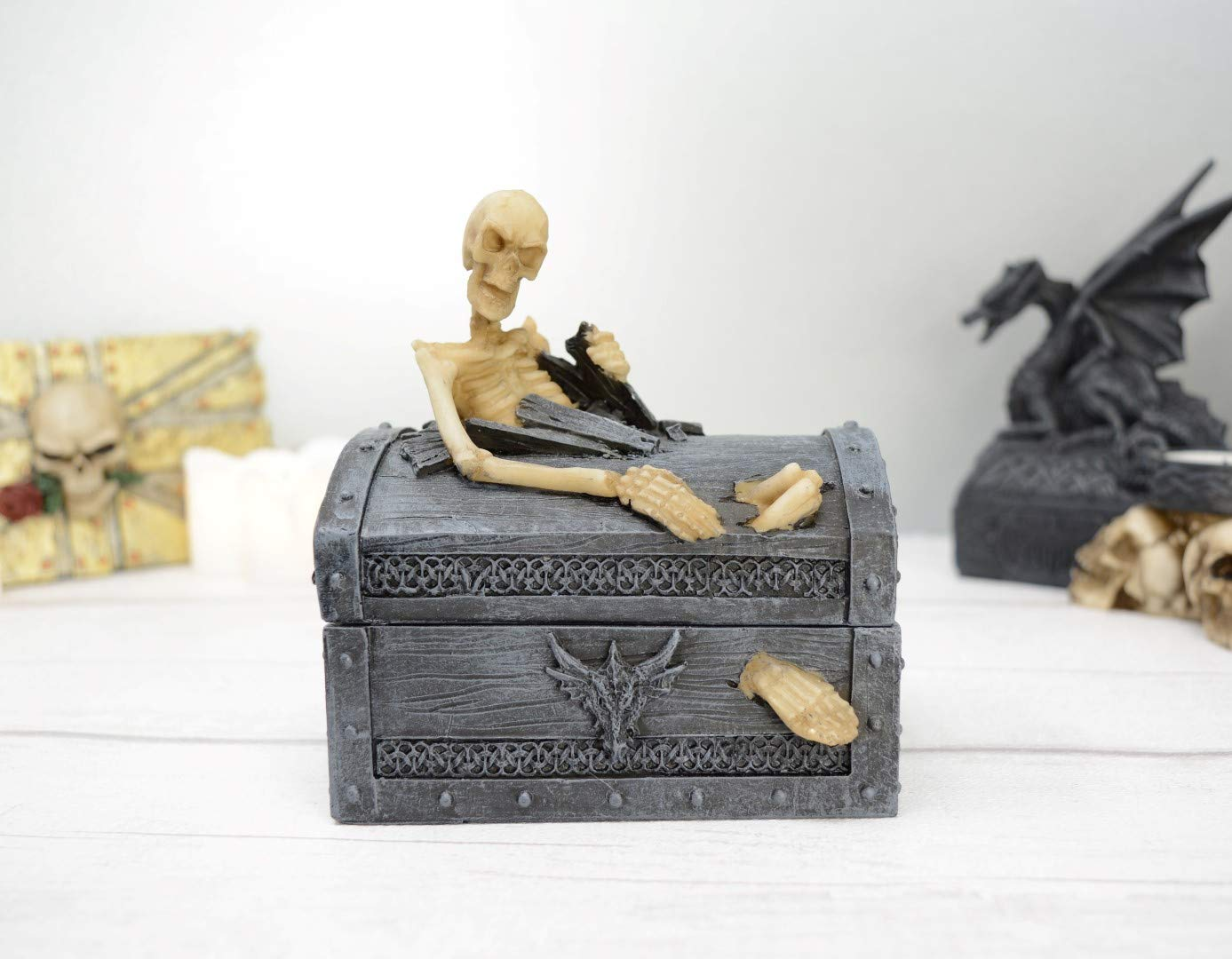 13 cm Piquaboo Joyero de Estilo g/ótico con Tapa de Esqueleto