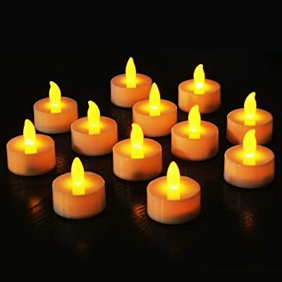 Novelty Place Flameless LED Tea Light Candles in Warm Yellow Flickering Bright Tealights Electric Battery-Powered Tealight Candles for Votive, Wedding, Birthday (Pack of 12): Kitchen & Dining
