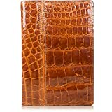 Genuine Florida Alligator Skin Notebook Padfolio (Small 5x8 Notepad, Cognac)