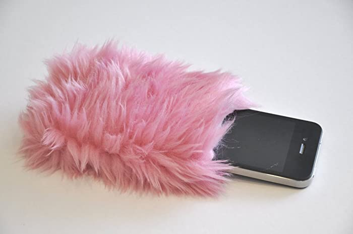 new arrival d8b2e 2d3ee Amazon.com: Fur Phone Case Pink Fuzzy iPhone 6 5 Case Kawaii Girly ...