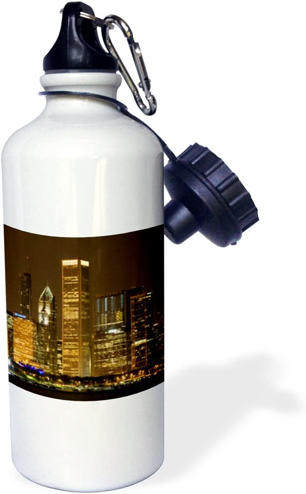 ローズWB _ 90191 _ 1 Chicago Skyline At Night、illinois-us14 dfr0127-david R Frazierスポーツウォーターボトル、21オンス、ホワイト