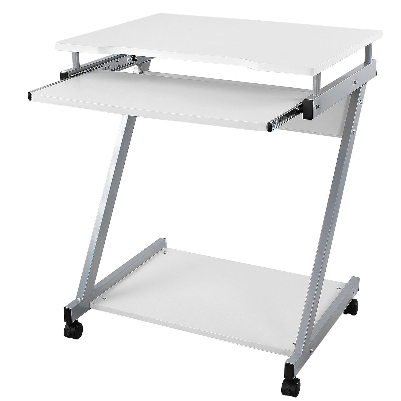 Songmics Schreibtisch Computertisch Mit Rollen PC Tisch Weiß Z Form LCD811W
