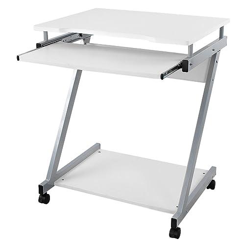 Computertisch mit rollen  Songmics Schreibtisch Computertisch mit Rollen PC Tisch weiß Z ...