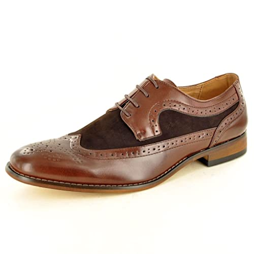 Men's Two Tone Leather Lined Brogue Formal Lace Up shoes Top