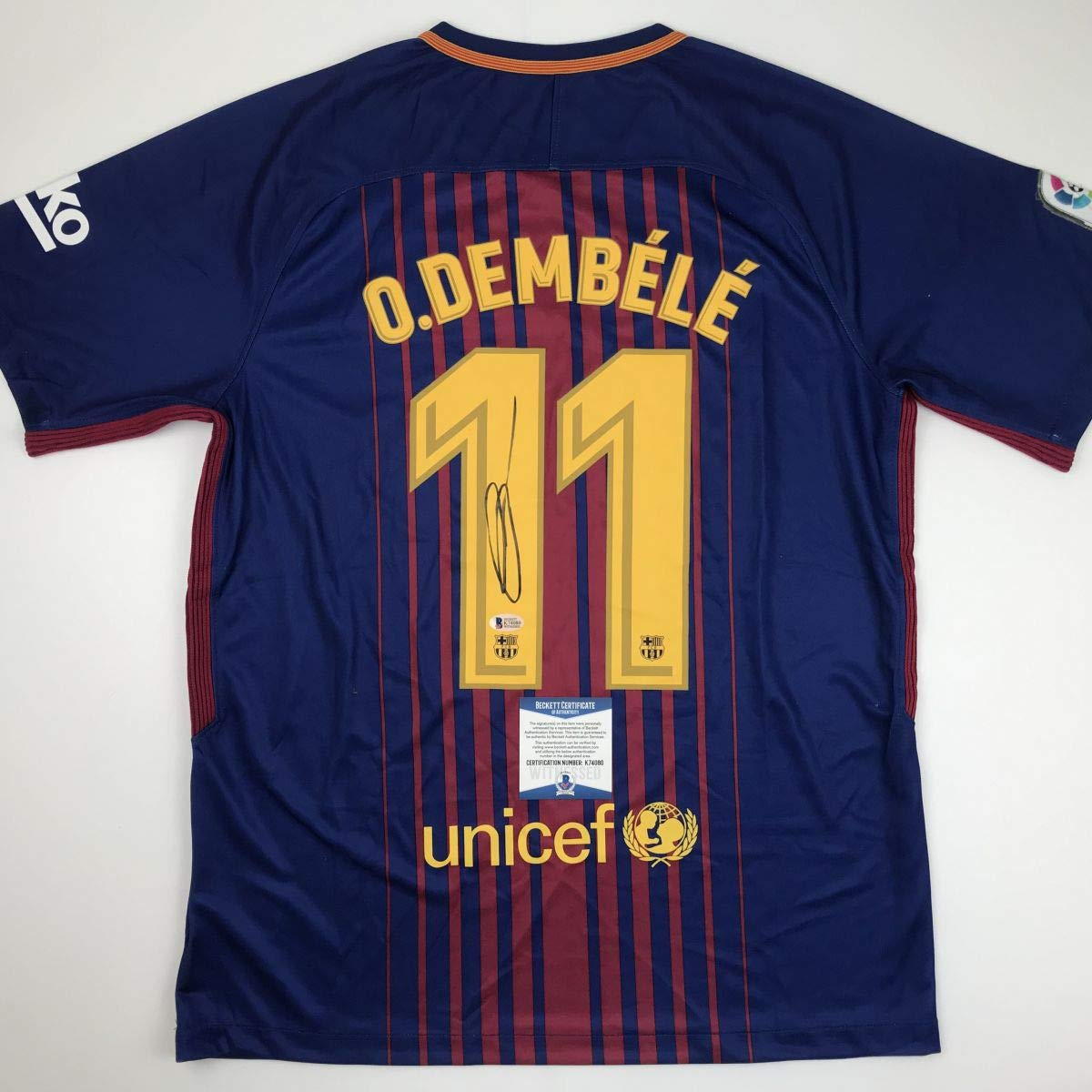 e0db5d573 Autographed Signed Ousmane Dembele FC Barcelona Blue Soccer Jersey Beckett  BAS COA Auto at Amazon s Sports Collectibles Store