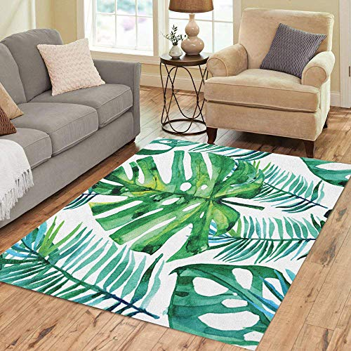 Semtomn Area Rug 5' X 7' Pattern Watercolor Green Tropical Leaves Monstera Leaf Palm Aloha Home Decor Collection Floor Rugs Carpet for Living Room Bedroom Dining Room