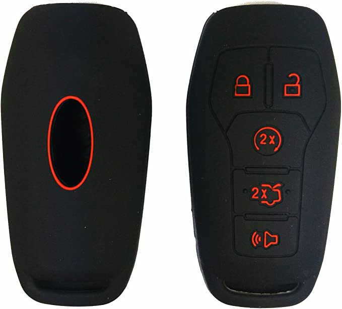 Coolbestda Silicone 4Buttons Key Fob Remote Control Cover Case Holder Keyless Entry for Ford F150 F-150 F250 F350 Mustang Fusion Explorer Taurus Expedition Lincoln MKS MKX MKZ Navigator