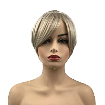 Amazon.com   Wiginway Short Natural Wave Silver Gray Wig Braided Updo  Hairstyles Wigs Cosplay Party Girls Wigs   Beauty 9ff95c4c2dbd