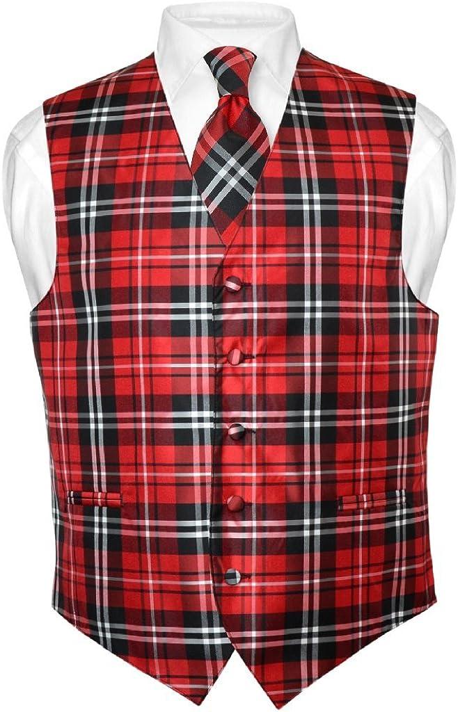 Men's Plaid Design Dress Vest & Necktie Black Red White Neck Tie Set