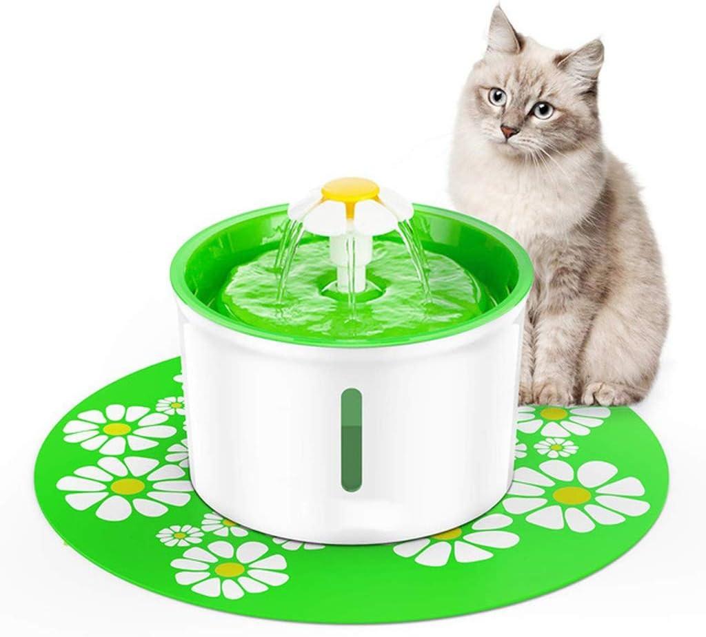 MM Fuente de agua potable para mascotas con ventana de nivel de agua, dispensador automático de agua para mascotas de 1.6L para perros y gatos con filtro de repuesto y estilo de flor, súper silencioso