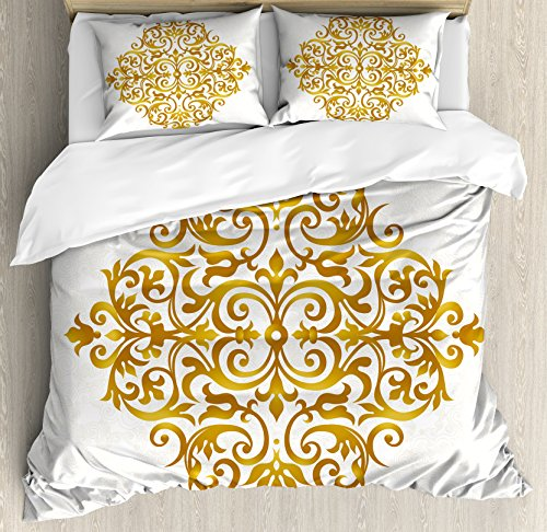 Piece Design Three Filigree - Ambesonne Mandala Duvet Cover Set Queen Size, Victorian Style Traditional Filigree Inspired Royal Oriental Classic Print Theme, A Decorative 3 Piece Bedding Set with 2 Pillow Shams, Pale Caramel White