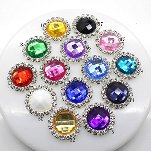 20pcs 21mm Round Acrylic Embellishment Rhinestone Button Flateback DIY Accessories Mix 14 Colors for Christmas - Acrylic Embellishments
