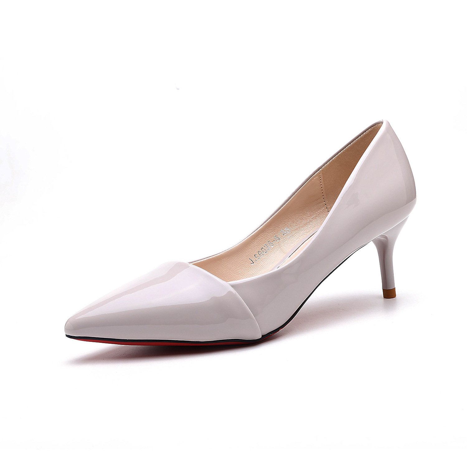 Black high-heeled shoes fine with the Korean version of the tip of the stitching women's shoes single shoes, light gray 39