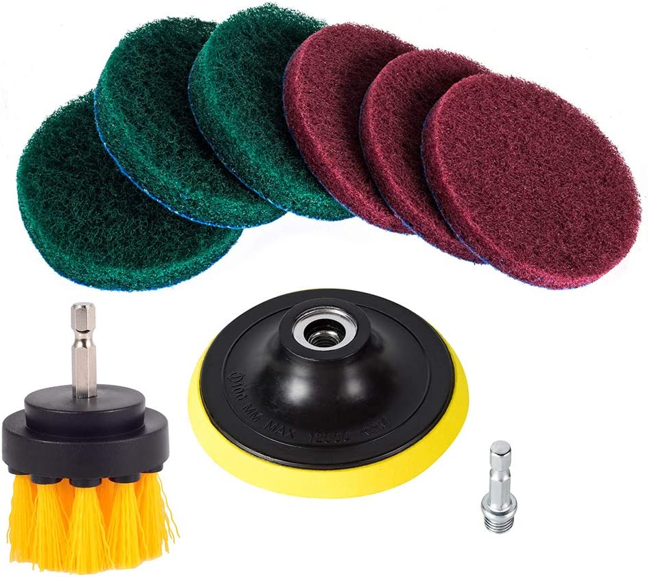 Kichwit 4 Inch Drill Power Brush Tile Scrubber Scouring Pads Cleaning Kit, 2 Inch Small Brush Included, Heavy Duty Household Cleaning Tool (Drill NOT Included)