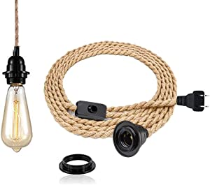 Pendant Light Kit with Switch - Easric Vintage Lamp Cord with 15FT Twisted Hemp Rope E26 Socket Plug in DIY Hanging Lighting Fixture for Farmhouse Home Loft