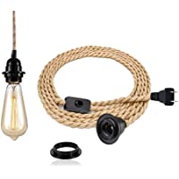 Pendant Light Kit with Switch - Easric Vintage Lamp Cord with 15FT Twisted Hemp Rope E26 Socket Plug in DIY Hanging Lighting Fixture for Farmhouse Home Loft - Bulb Not Included