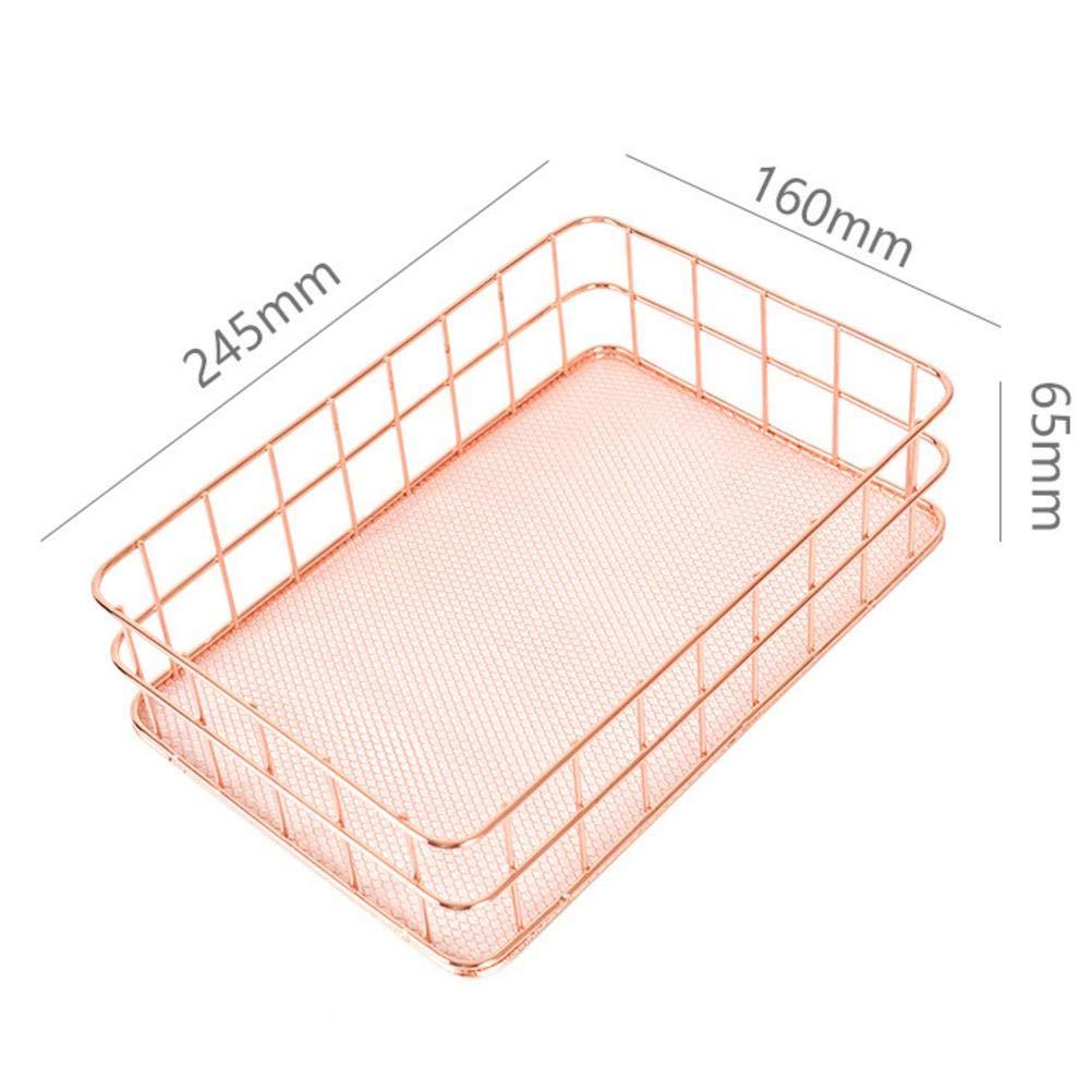 Lijuan Qin Desktop Storage Basket Copper Wire Bathroom Shelves Makeup Organizer, Rose Gold Brush Pen Holder, Metal Mesh Kitchen Toiletries Sundries Box Container