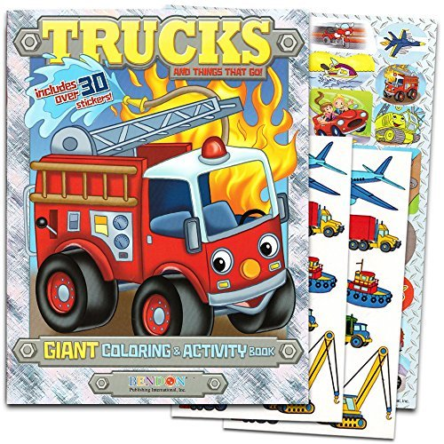 Cars And Trucks Coloring Book Set For Toddlers 2 Books Over 200 Stickers Tractors Fire Trains Other Things That Go