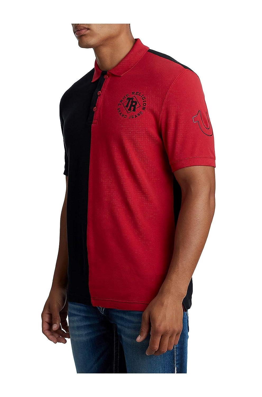 True Religion Mens Split Panel Half Polo Shirt Fashioncare