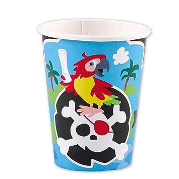 8 coloridos vasos motivo pirata | 250 ml de capacidad ...