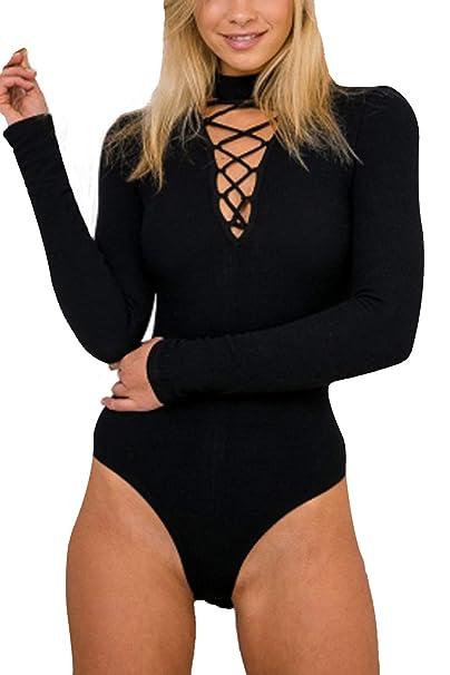 909e6ff56e85 Amazon.com  Mulisky Women Choker V Neck Lace up Long Sleeve Jumpsuit Ribbed  Kintted Bodysuit  Clothing