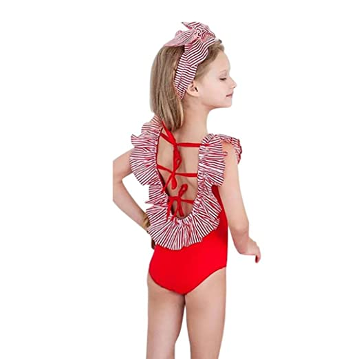 7783365f4a3 Amazon.com: TOOPOOT Infant Kids Baby Girls Swimwear Print Striped Backless  Halter One Piece Bathing Bikini Bathing Suit Swinwear: Clothing
